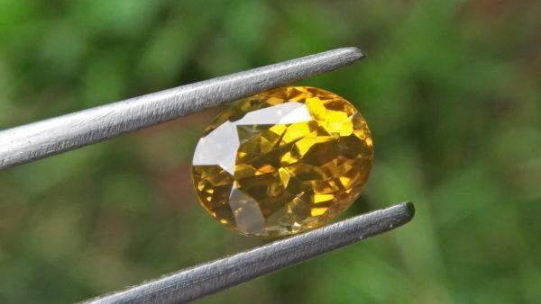 Ceylon Natural Melichrysos, Golden Yellow Zircon Shape : Ovel Shape Colour : Greenish Golden yellow Weight : 2.25Cts Dimension : 7.2mm x 6.1mm x 5.1mm Clarity : Clean stone Mineral : City of Gem Ratnapura Sri Lanka
