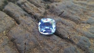 NATURAL BLUEISH WHITE SAPPHIRE Shape : Cution Dimension : 7mm x 6.5mm x 4mm Weight : 1.50cts Clarity : SI Colour : Blueish white Transparency : Transparent Origin : Sri Lanka Treatment : Unheated/ Natural