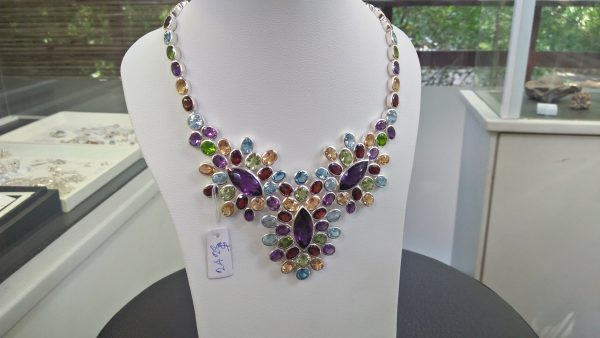 Natural Gemstones Pio - Silver Necklace Weight : 453Cts (90.42Gram) Metal : Pio - Silver Stones Quantity : 105 Natural Stones Stone : Amethyst, Peridot, Blue Topaz, Garnet, Citrine