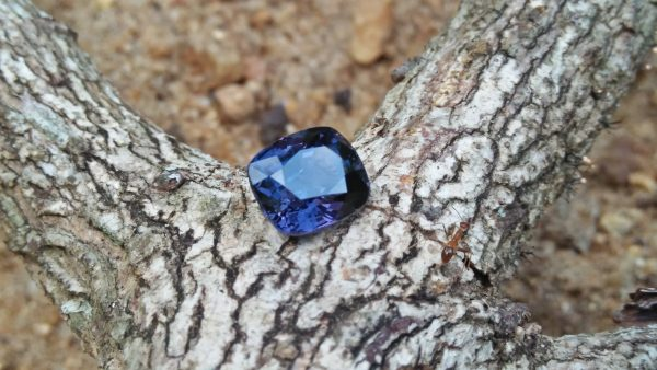 "NATURAL Cobalt Spinel Shape : Cution Rectangular Clarity : SI Treatment : Natural/Unheated Weight : 3.76 Cts Colour : Violetish Blue Dimension : 9.11mm x 7.84mm x 6.19mm ""CGJ"" Certified"