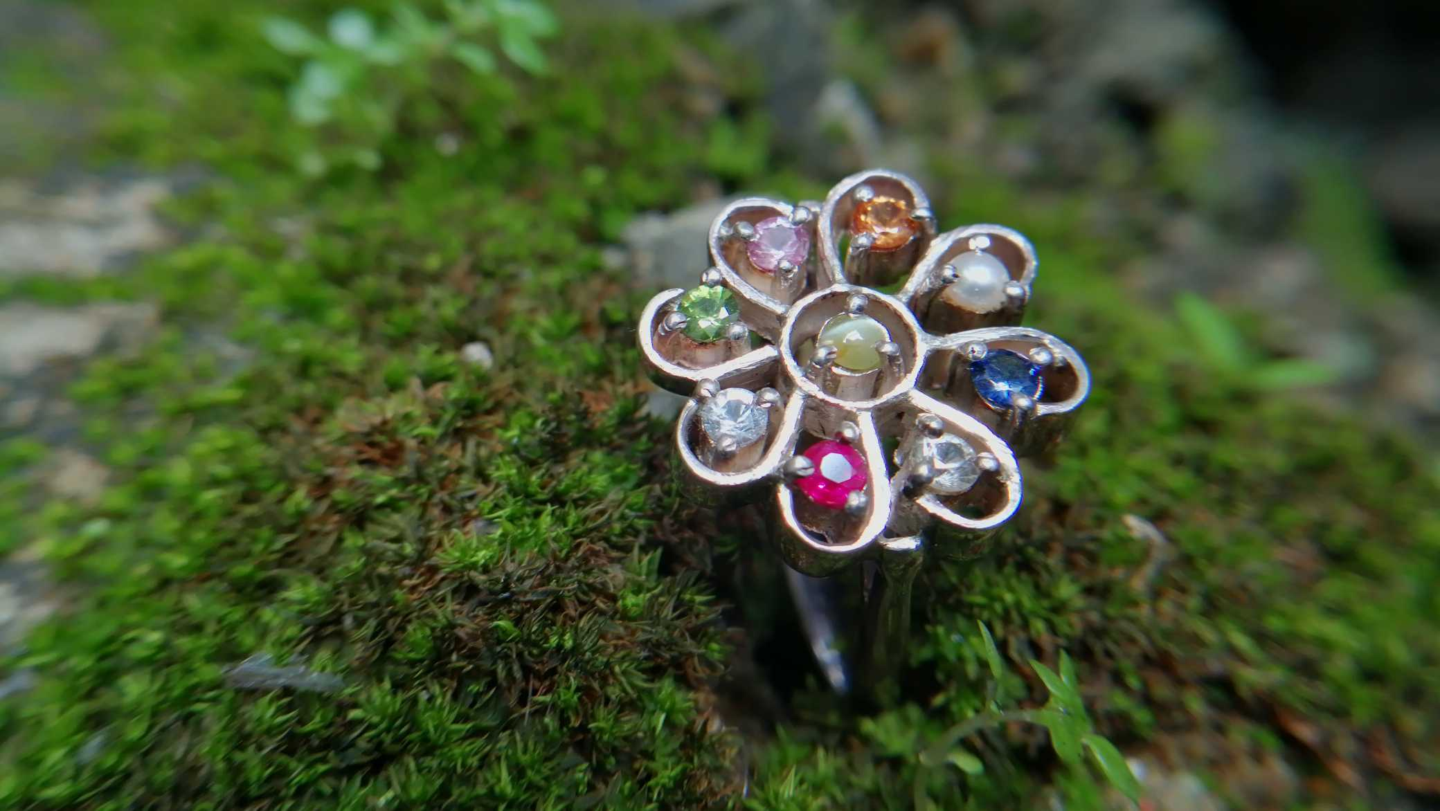 NATURAL 9 GEMSTONES Standard 925 ladies Silver Ring ( නවරත්න) Nawarathna
