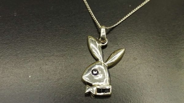 Ceylon Blue Sapphire Play Boy Standard 925 Silver Necklace 藍寶石銀項鍊