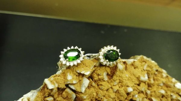 Metal : Silver 925 Stone : chrome Diopside Type : Earing Weight : 3.62 g 铬透辉石銀耳環 宝石 :铬透辉石 颜色 : 绿色 透明 : 好透明 金属:银 重量:3.62 克