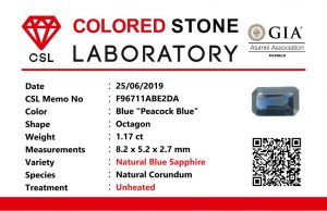 "Colour : Blue ""Peacock Blue""  Shape : Octagon   Weight : 1.17 ct  Dimension : 8.2 x 5.2 x 2.7 mm  Treatment : Unheated   Clarity : VS  • CSL - Colored Stone Laboratory Certified  ( GIA Alumina  Association Member )  • CSL Memo No : F96711ABE2DA  蓝宝石 ""孔雀藍''   重量 :  1.17  卡拉    尺寸 : 8.2 x 5.2 x 2.7 mm  颜色 : 孔雀藍   透明 : 好透明   形状 : 八角形  治療:没有加热  清晰度 : VS"