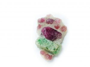 Pargasite and Pink Spinel Crystals on Calcite Marble