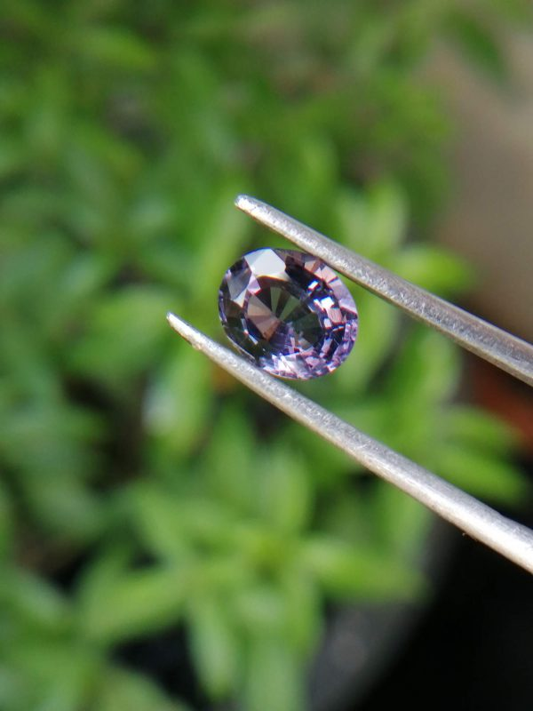 Colour : Purple Shape : Oval Weight : 1.30 cts Dimension : 7.4 x 6.2 x 3.7 mm Treatment : Unheated Clarity : VS • CSL - Colored Stone Laboratory Certified ( GIA Alumina Association Member ) • CSL Memo No : A383251C8292 Spinel is the magnesium-aluminum member of the larger spinel group of minerals with chemical formula MgAl₂O₄. Spinel is actually a large group of minerals. Gahnite, hercynite, ceylonite, picotite, and galaxite are all part of the spinel group. This oxide mineral is a Cubic crystal system with 7.5–8.0 hardness according to the Mohs hardness scale. Spinels Specific Gravity is depending on the composition of chemicals such as Zn-rich spinel can be as high as 4.40, otherwise, it averages from 3.58 to 3.61. Spinel has many colors such as red, pink, blue, lavender/violet, dark green, brown, black, colorless, gray. Spinel is a single reflective Non-pleochroic gemstone and Anomalous in some blue zincian varieties. It can be found as Opaque, Translucent or transparent. Spinel RI value is n = 1.719 Some red and pink spinels have fluorescence under UV Light. also, Some spinels have magnetism Weak to medium. Natural spinels typically are not enhanced. Spinels are found in Madagascar, Sri Lanka, Vietnam, Myanmar, Tanzania, Kenya, Nigeria, Afghanistan, Albania, Algeria, Atlantic Ocean, Australia, Belgium, Bolivia, Brazil, Cambodia, Canada. Spinel has long been found in the gemstone-bearing gravel of Sri Lanka. Since 2000 in several locations around the world have been discovered spinels with unusual vivid colors. when the mineral is pure, it's colorless. That's called allochromatic gemstones. Als, Spinels are found with 4-rayed stars and 6-rayed stars. Some spinels are found with a color-changing effect such as Blue to violet, Grayish-blue to reddish-violet and some stones from Sri Lanka change from violet to reddish violet, due to the presence of Fe, Cr, and V. Blue Spinel is a very special gemstone because it is one of the few that occur naturally. The blue Spine