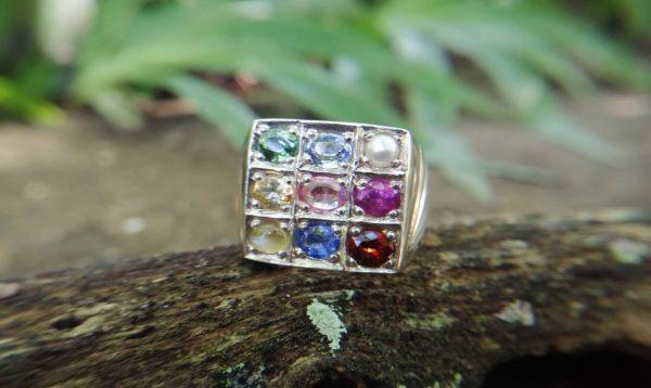 Top Quality Natural 9 Gemstones Ring - Nawarathna | නවරත්න මැණික් මුදුව