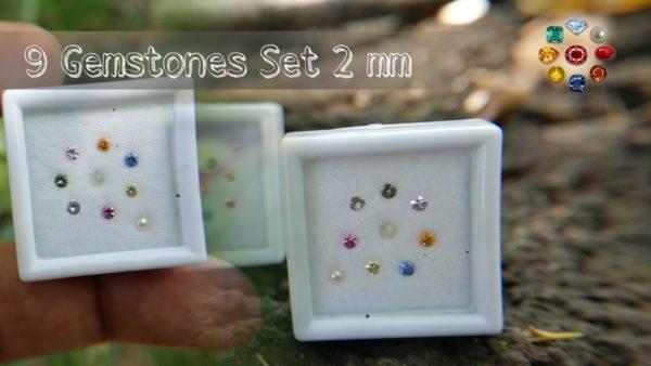 Natural 9 Gemstones Set - Nawarathna Gemstones 2 mm