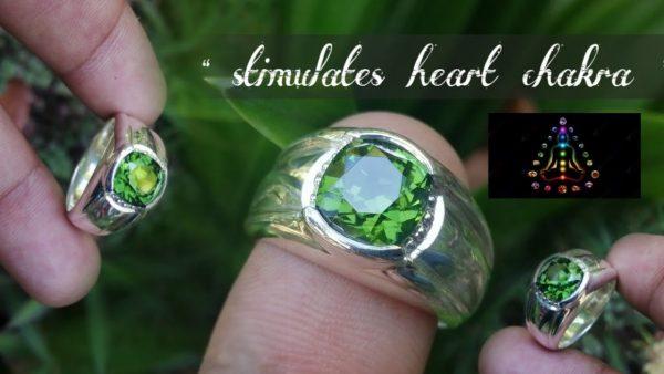 Natural Green Zircon Gent Ring- Beccarite Zircon