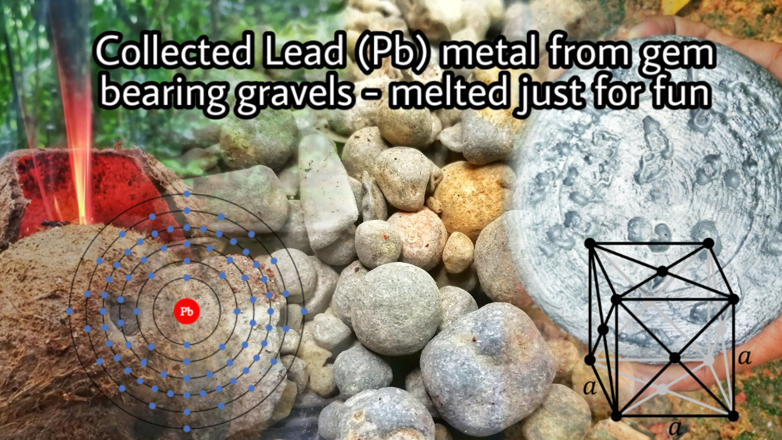 Collected Lead (Pb) Metal from gem bearing gravels