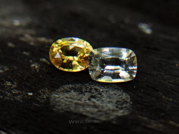 ceylon Yellow Sapphire & White Sapphire Couple danugroup.lk