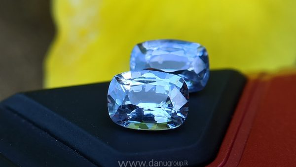 Ceylon Natural Light Blue Sapphire Pair for earrings - Danu Group Gemstones Collections