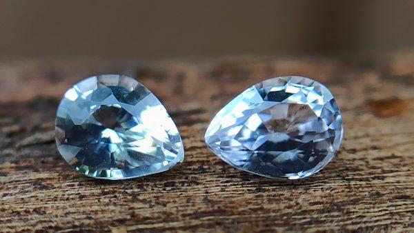 danugroup.lk - ceylon natural white sapphire pear shape pair