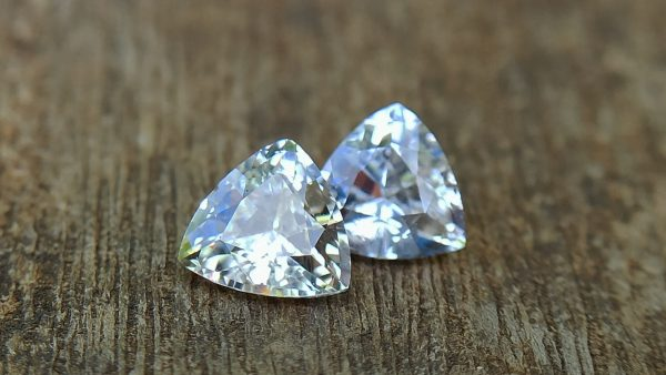 Ceylon Natural Fancy Sapphire Triangular Shape Couple Light Yellow and white sapphire from Danu Group Gemstones Collection