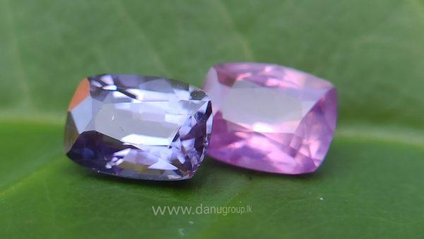 danugroup.lk - ceylon natural Violet Sapphire and pink sapphire Couple danu group Gemstones