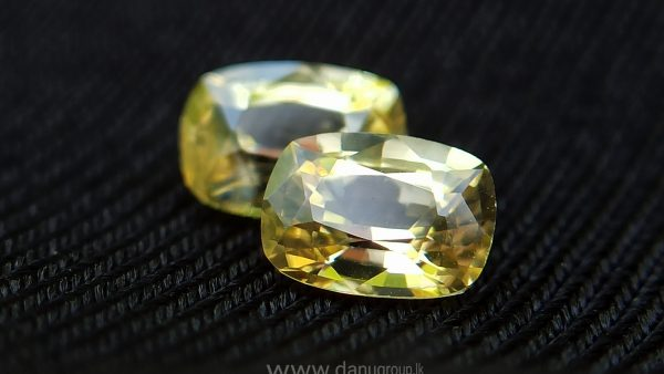 Ceylon Natural Yellow Sapphire Pair - Cushion shape yellow sapphire for earrings Danu Group Gemstones Collections