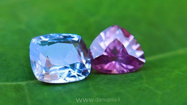 danugroup.lk - Ceylon Natural Blue and pink sapphire couple Danu Group Gemstones
